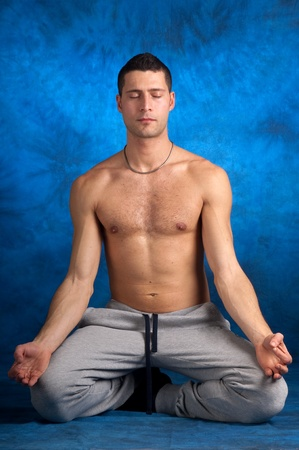 man on yoga position Stock Photo - 11857087