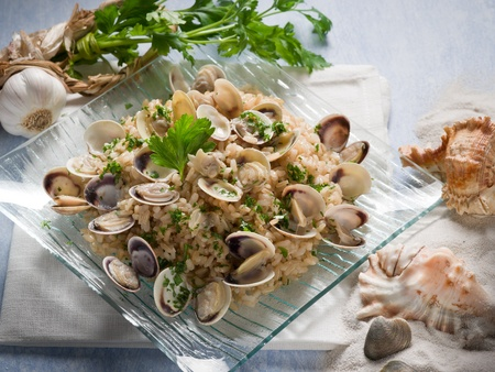 risotto with clam and parsley photo