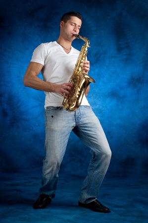 man with sax photo