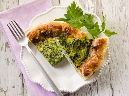 meat pie: cake with ricotta and spinach Stock Photo