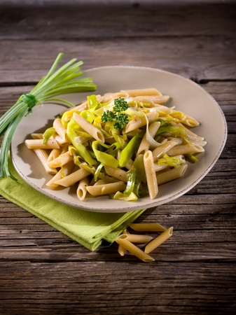 pasta with leek and pepper, healthy food photo