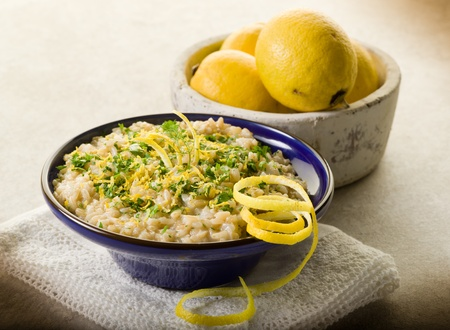 risotto: risotto with lemon and parsley, healthy food