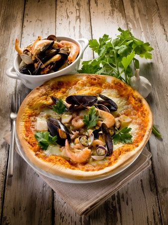 pizza with sea fruits photo
