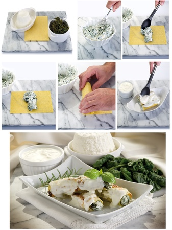 collage preparation cannelloni ricotta e spinach Stock Photo - 12397234