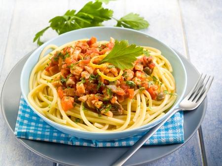 Spaghetti mit Schwertfisch Ragout