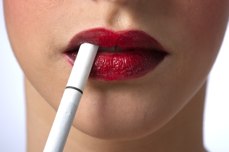 red lips with cigarette Stock Photo