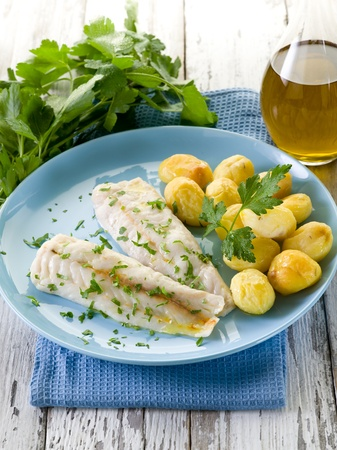 steamed cod with parsley and potatoes photo