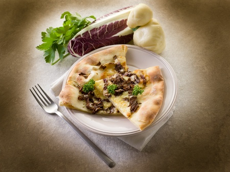 radicchio: pizza with scamorza and radicchio Stock Photo