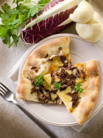neapolitan: pizza with scamorza and radicchio Stock Photo