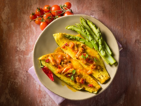 fish fillet with tomato hot chili pepper and asparagus Stock Photo - 13120287