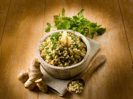 risotto with ginger and parsley, healthy food Stock Photo - 13120279