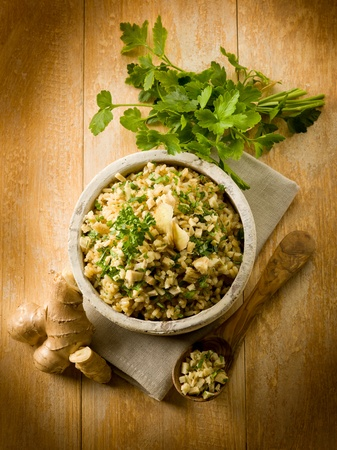 risotto with ginger and parsley, healthy food Stock Photo - 13120250