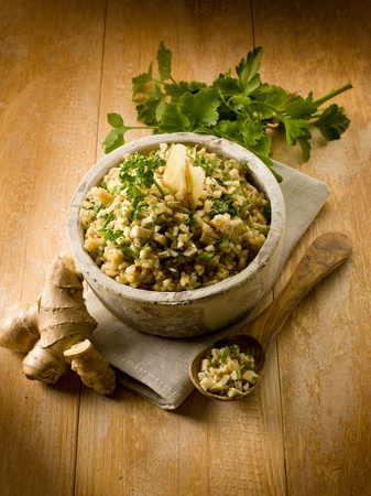 risotto with ginger and parsley, healthy food photo