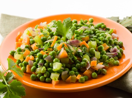 salad with peas carrots and onions sauteed, healthy food photo