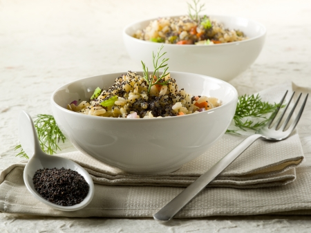 risotto with poppy seed and carrots,healthy food Stock Photo