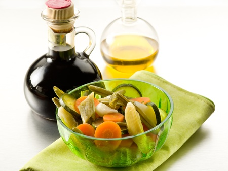 balsamic: steamed vegetables salad with balsamic vinegar