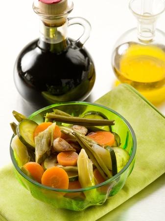 balsamic: steamed vegetables salad with balsamic vinegar