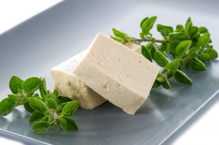 tofu cheese on dish photo