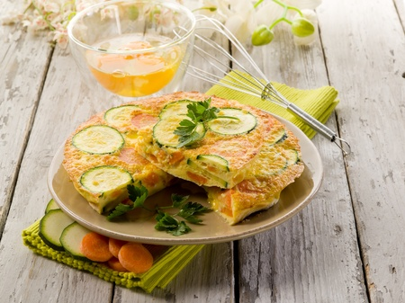 carrot cake: omelette with carrot zucchinis and parsley