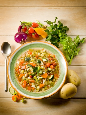 soup vegetable with ingredients photo