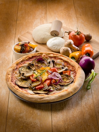 vegetarian pizza with ingredients photo