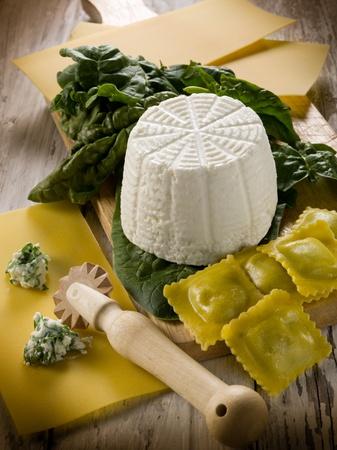 ravioli: ingredients for homemade preparation ravioli ricotta and spinach  Stock Photo