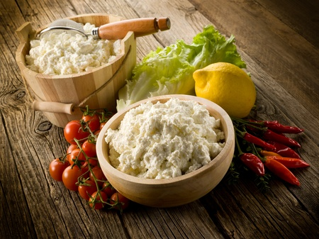 artisanal: artisanal homemade ricotta with vegetables ingredients Stock Photo