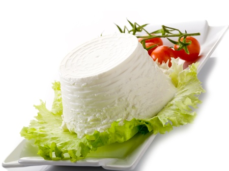 ricotta with tomatoes and lettuce on dish Stock Photo - 13375828
