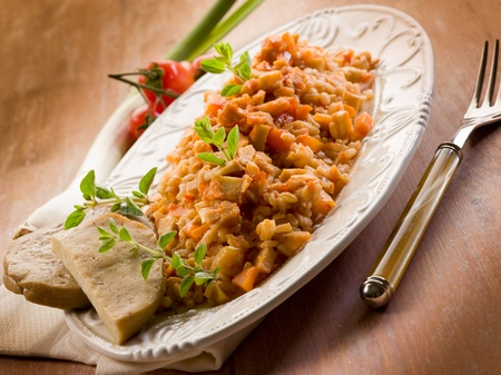 exotically: Risotto with seitan ragout, vegetarian food