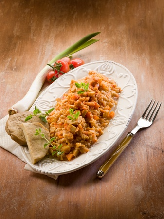 Risotto with seitan ragout, vegetarian food photo