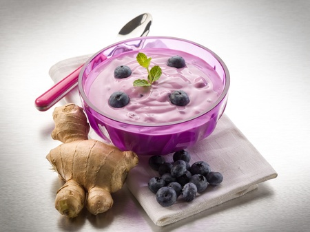 mousse: blueberry mousse with yogurt and ginger, healty food
