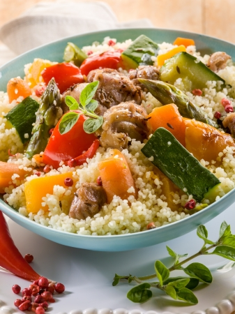 moroccan cuisine: cous cous with meat  and vegetables