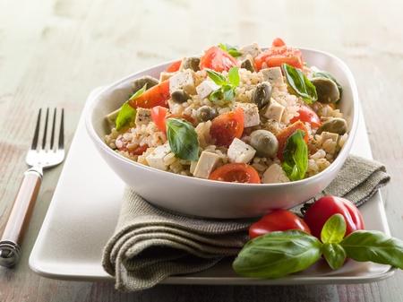 brown rice: vegetarian rice salad with tofu and brown rice