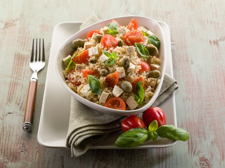 vegetarian rice salad with tofu and brown rice photo