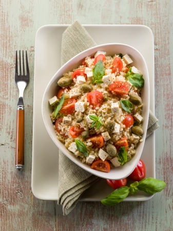 salad fork: vegetarian rice salad with tofu and brown rice
