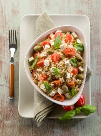 vegetarischen Reissalat mit Tofu und brauner Reis Lizenzfreie Bilder