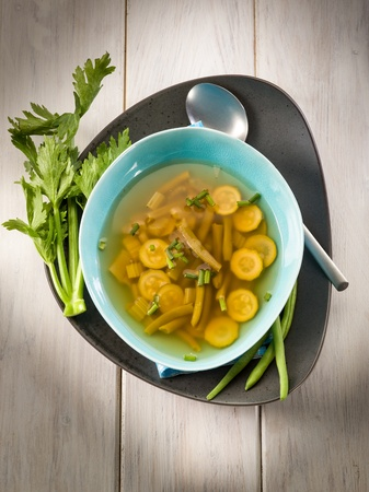 dashi: miso soup with green beans zucchinis and celery, vegetarian food