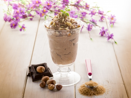 ice cream with chocolate and hazelnut photo