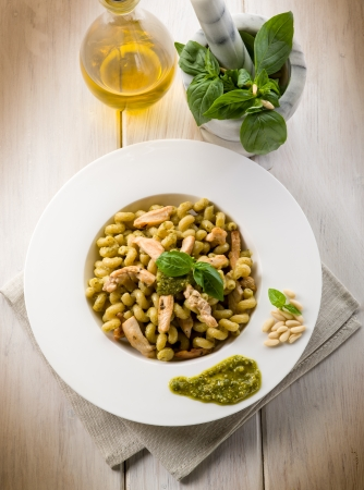 pasta with pesto sauce and chicken breast, healthy food Stock Photo - 13710689