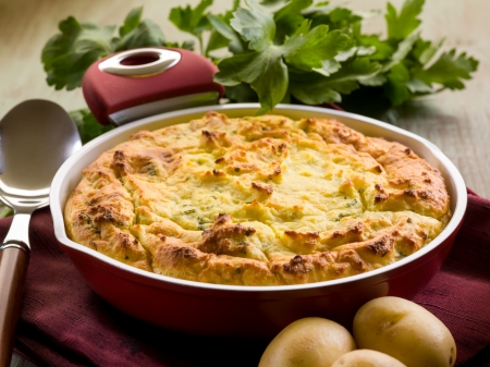 Homemade potato cake, vegetarian food Stock Photo