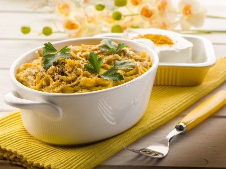 tagliatelle with cheese and curry sauce, healthy food photo