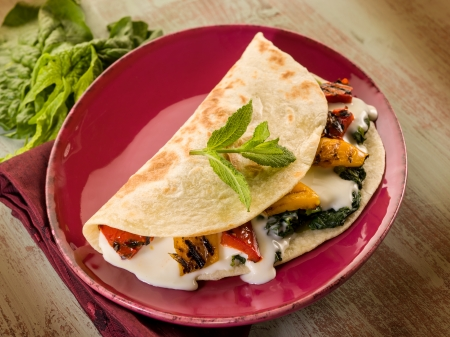 piadina with spinach grilled capsicum and cheese photo