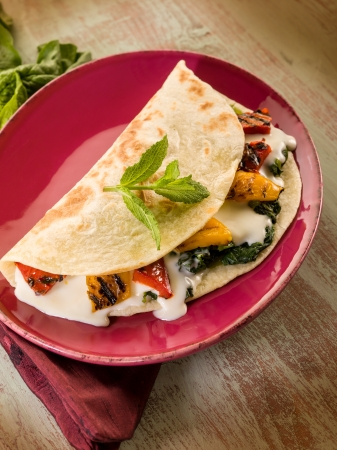 tortillas: piadina with spinach grilled capsicum and cheese