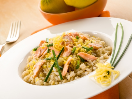 risotto: risotto with fresh salmon chive and lemon peel, healthy food