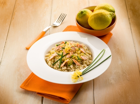 chive: risotto with fresh salmon chive and lemon peel, healthy food
