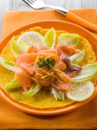 endive: maize pancake with endive salad and smoked salmon