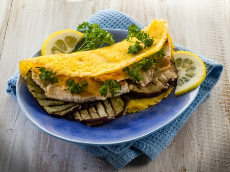 sandwich with chicken and grilled eggplant,healthy food photo