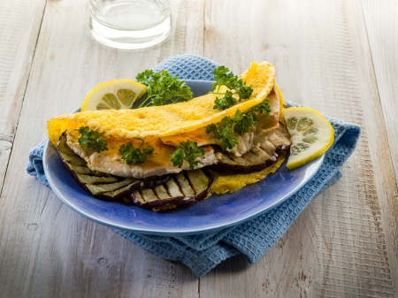 tortillas: sandwich with chicken and grilled eggplant,healthy food Stock Photo