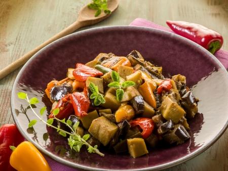 seitan stew with eggplant nd pepper,vegetarian food