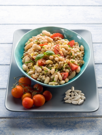 spelt risotto with beans and tomatoes photo